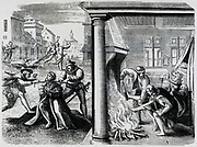 Atrocities in the Netherlands during  Spanish Roman Catholic rule under the Duke of Alva (1567-1573). A Protestant being 'persuaded' to renounce is faith.