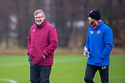 Craig Levein, manager of Heart of Midlothian and Austin MacPhee, assistant manager of Heart of Midlothian ahead of the SPFL Premiership match between Hearts v St Mirren at Oriam Sports Performance Centre, Riccarton, Edinburgh, Scotland on 22 November 2018.