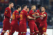 Diego Perotti of Roma celebrates with his teammates after scoring 1-0 goal during the UEFA Europa League, Group J football match between AS Roma and Wolfsberg AC on December 12, 2019 at Stadio Olimpico in Rome, Italy - Photo Federico Proietti / ProSportsImages / DPPI