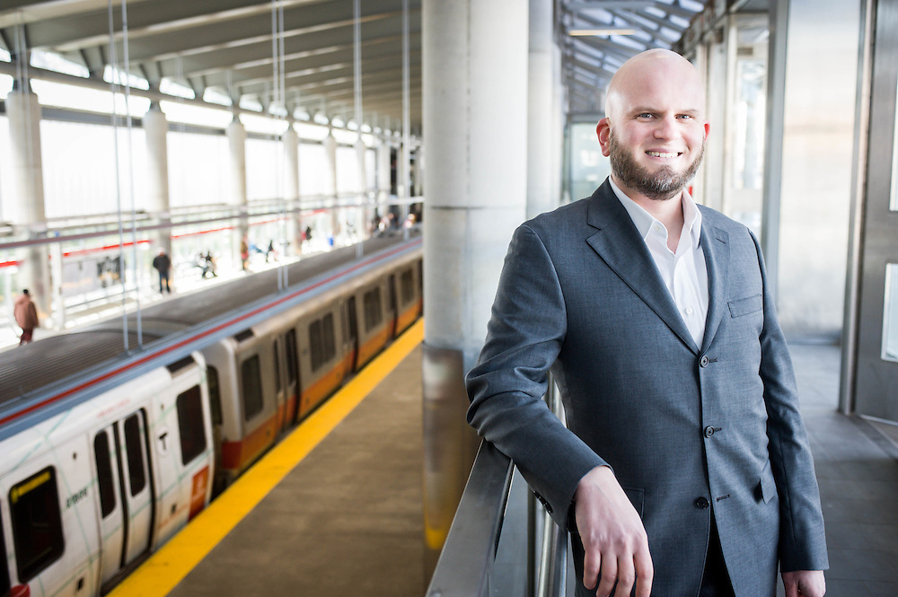 Ward Maps owner Steven Beaucher photographed in Ashmont Station in Dorchester, MA.