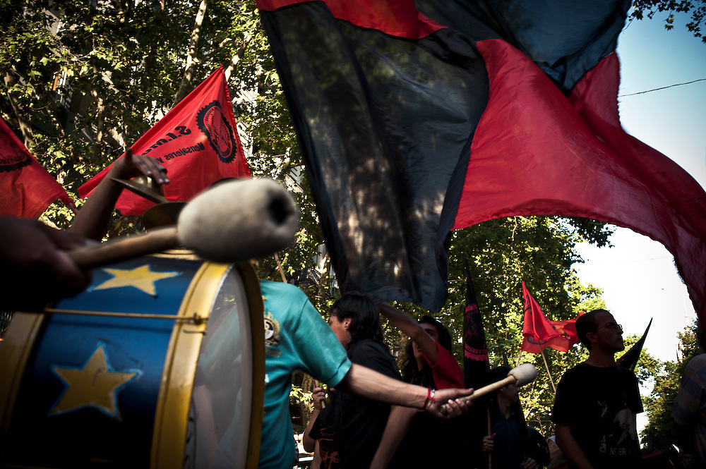 December 20, 2010 - Members of the motorbike couriers' union demonstrate in Buenos Aires, Argentina, on the 9th anniversary of the deadly riots of 19-20 December 2001 amid the country's worst economic crisis and social chaos that forced Fernando De la Rua's downfall. A member of this union was shot dead by the police during the deadly riots of 19 and 20 December 2001.
