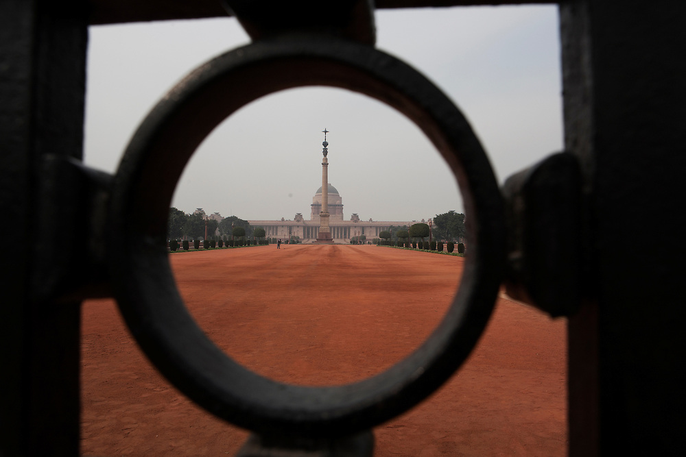 Delhi, India, January 2011. The Rashtrapati Bhavan -  the official residence of the President of India - one of the largest largest residence for any Presindent in the World.