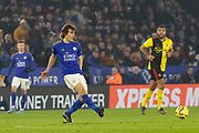 Caglar Soyuncu (4) during the Premier League match between Leicester City and Watford at the King Power Stadium, Leicester, England on 4 December 2019.