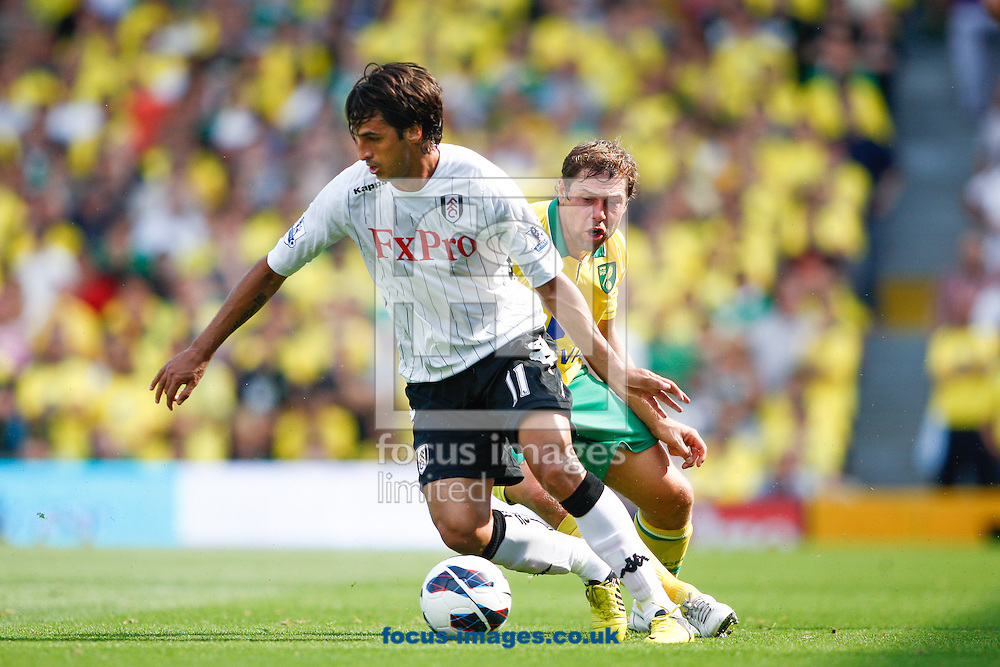 Picture by Andrew Tobin/Focus Images Ltd +44 7710 761829.18/08/2012. Bryan Ruiz of Fulham turns away from Grant Holt of Norwich during the Barclays Premier League match at Craven Cottage, London.