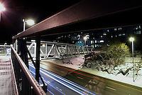 &Aring;lesund 12012011.<br /> Gangbroen over innfartsveien i &Aring;lesund ved Sunnm&oslash;rshallen og Color Line stadion.<br /> <br /> The footbridge over the main road to the city of Aalesund. <br /> Foto: Svein Ove Ekornesv&aring;g