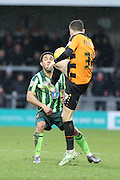 James Pearson of Barnet FC beats Andy Barcham of AFC Wimbledon during the Sky Bet League 2 match between Barnet and AFC Wimbledon at Underhill Stadium, London, England on 20 February 2016. Photo by Stuart Butcher.