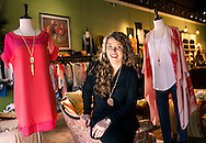 Sarah Doggett Evenson at Simply Meg's, a <br /> boutique store at Friendly Center Shopping Mall where her clothing is sold. Sarah is the founder and creative director of Marie Oliver, a clothing line featured in 100 stores across the south and southeast.&nbsp;A Greensboro native, she earned a business degree from Elon University prior to creating her company.