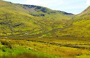 Upland landscape view to Foel Gron mountain, Mount Snowdon, Gwynedd, Snowdonia, north Wales, UK