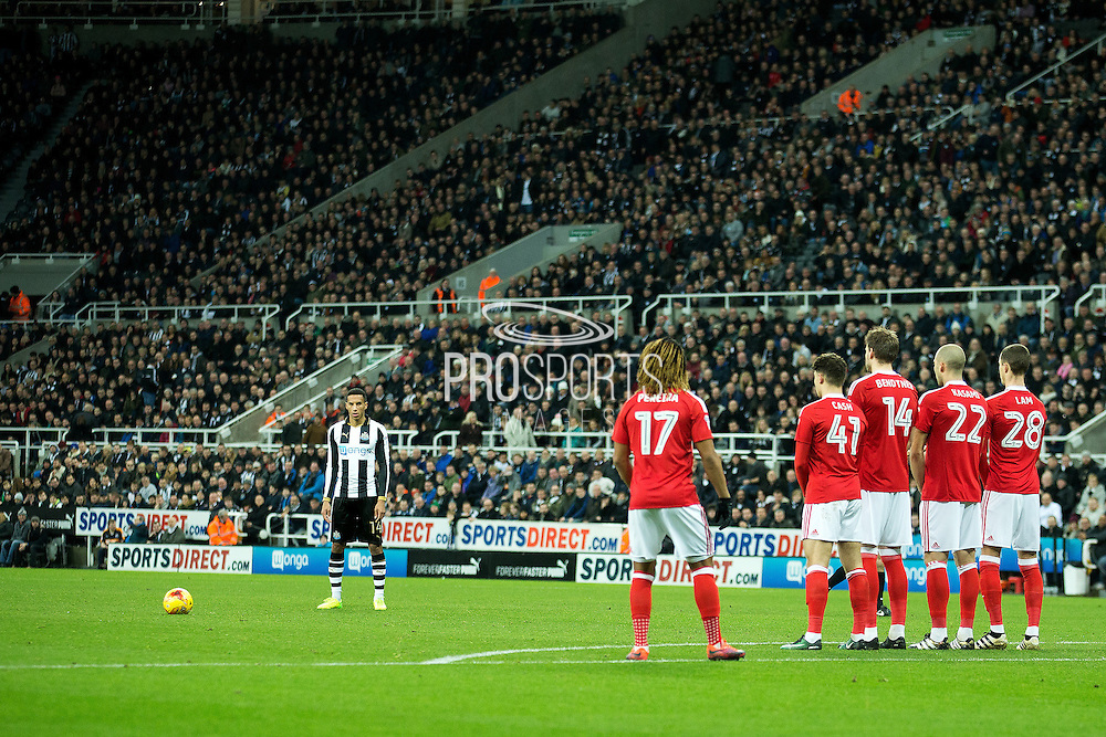 Newcastle United midfielder Isaac Hayden (#14) lines up a free kick during the EFL Sky Bet Championship match between Newcastle United and Nottingham Forest at St. James's Park, Newcastle, England on 30 December 2016. Photo by Craig Doyle.