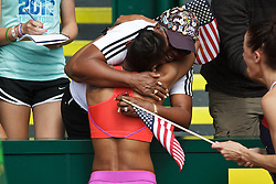 Olympic Trials Eugene 2012: women's 400 Hurdles, T'Erea Brown, 3rd, victory lap, hugs mom, Olympian
