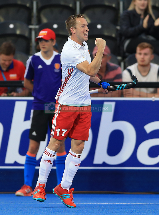 England's Barry Middleton celebrates scoring his side's first goal of the game against Canada during the Men's World Hockey League match at Lee Valley Hockey Centre, London.