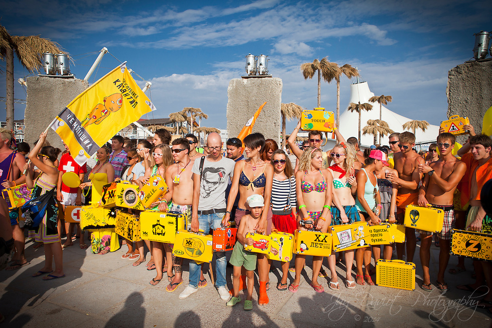 The famous yellow cases of Kazantip.