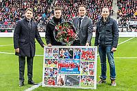 ALKMAAR - 11-12-2016, AZ -  Feyenoord, AFAS Stadion, 0-4, afscheid Markus Henriksen (2vl), Max Huiberts (l), Robert Eenhoorn (2vr).