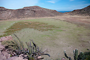 View of playa (dry lake bed) formed by geologic/tectonic action, Isla Partida, La Paz, BCS, Mexico