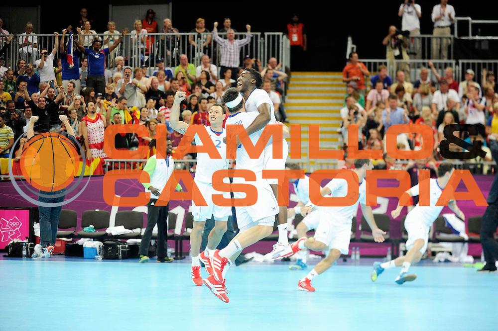 DESCRIZIONE : Handball Jeux Olympiques Londres Quart de Finale<br /> GIOCATORE : Karabatic Nikola Abalo Luc FRA<br /> SQUADRA : France Homme<br /> EVENTO : FRANCE Handball Jeux Olympiques<br /> GARA : France Espagne<br /> DATA : 08 08 2012<br /> CATEGORIA : handball Jeux Olympiques<br /> SPORT : HANDBALL<br /> AUTORE : JF Molliere <br /> Galleria : France JEUX OLYMPIQUES 2012 Action<br /> Fotonotizia : France Handball Homme Jeux Olympiques Londres Quart de Finale Basketball Arena<br /> Predefinita :