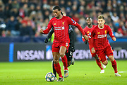 Liverpool midfielder Georginio Wijnaldum (5) on the ball during the Champions League match between FC Red Bull Salzburg and Liverpool at the Red Bull Arena, Salzburg, Austria on 10 December 2019.