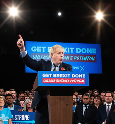 © Licensed to London News Pictures. 06/11/2019. Birmingham, UK. British Prime Minister BORIS JOHNSON launches the Conservative Party Election Campaign at the National Exhibition Centre , near Birmingham . The election was called after Johnson was unable to secure support to pass his Brexit deal through Parliament . Photo credit: Joel Goodman/LNP