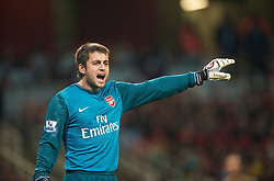 LONDON, ENGLAND - Wednesday, October 28, 2009: Arsenal's goalkeeper Lukasz Fabianski during the League Cup 4th Round match at Emirates Stadium. (Photo by David Rawcliffe/Propaganda)
