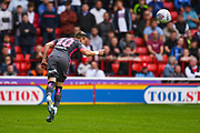 Leeds United defender Ezgjan Alioski (10) heads the ball on during the EFL Sky Bet Championship match between Barnsley and Leeds United at Oakwell, Barnsley, England on 15 September 2019.