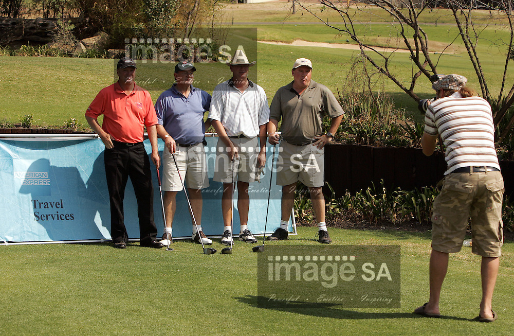 Seekers Golf| Doug McGuigan on the 1st tee| Day1 of the Sekeekers Travel Pro-Am at Dainfern Country Club- Johannesburg- Doug McGuigan and the rest of his 4 ball pose for the photographer on the 1st tee
