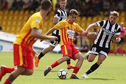 April 29, 2018 - Benevento, Campania, Italy - Filip Djuricic of Benevento Calcio  vies Jens Stryger of Udinese Calcio....during the Italian Serie A football match Benevento Calcio and Udinese Calcio at Ciro Vigorito Stadium in Benevento on April 29, 2018  (Credit Image: © Paolo Manzo/NurPhoto via ZUMA Press)