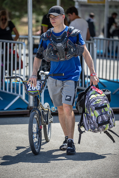 Men Junior #206 (HORAK Patrik) CZE arriving on race day at the 2018 UCI BMX World Championships in Baku, Azerbaijan.