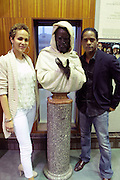May 7, 2012- New York, NY United States: (L-R) Actress Nicole Ari Parker and Actor Blair Underwood pose with bust of acclaimed 19th century Actor Ira Aldridge as they preview archived still images of various African American plays before they attend the Theater Talks at the Schomburg: A Streetcar Named Desire held at the Schomburg Center for Research in Black Culture, part of the New York Public Library on May 7, 2012 in Harlem Village, New York City. The Schomburg Center for Research in Black Culture, a research unit of The New York Public Library, is generally recognized as one of the leading institutions of its kind in the world. For over 80 years the Center has collected, preserved, and provided access to materials documenting black life, and promoted the study and interpretation of the history and culture of peoples of African descent. (Photo by Terrence Jennings) .