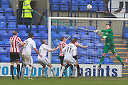 Dillon Phillips  makes a save during the Vanarama National League match between Tranmere Rovers and Cheltenham Town at Prenton Park, Birkenhead, England on 20 February 2016. Photo by Antony Thompson.