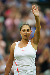 LONDON, ENGLAND - Wednesday, June 27, 2012: Tamira Paszek (AUT) celebrates after winning the Ladies' Singles 1st Round match on day three of the Wimbledon Lawn Tennis Championships at the All England Lawn Tennis and Croquet Club. (Pic by David Rawcliffe/Propaganda)