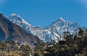 "Mount Everest (upper left; 29,035 feet / 8850 meters elevation above sea level, from 1999 GPS measurement), the highest mountain on Earth, was first called Chomolungma or Qomolangma (""Goddess Mother of the Earth"" in Tibetan). In 1865, Andrew Waugh, the British surveyor-general of India named the mountain for his chief and predecessor, Colonel Sir George Everest. In the 1960s, the Government of Nepal named the mountain Sagarmatha, meaning ""Goddess of the Sky"". The mountain, which is part of the Himalaya range in High Asia, is located on the border between Nepal and Tibet, China. Sagarmatha National Park was created in 1976 and honored as a UNESCO World Heritage Site in 1979."