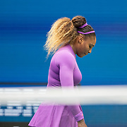 2019 US Open Tennis Tournament- Day Thirteen.    Serena Williams of the United States reacts during her match against Bianca Andreescu of Canada in the Women's Singles Final on Arthur Ashe Stadium during the 2019 US Open Tennis Tournament at the USTA Billie Jean King National Tennis Center on September 7th, 2019 in Flushing, Queens, New York City.  (Photo by Tim Clayton/Corbis via Getty Images)