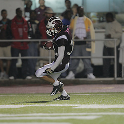 14 November 2008: Travis Gregory celebrates after returning an interception for a touchdown during the St. Thomas Falcons 47-28 playoff victory over the Welch Greyhounds at Strawberry Stadium in Hammond, LA.