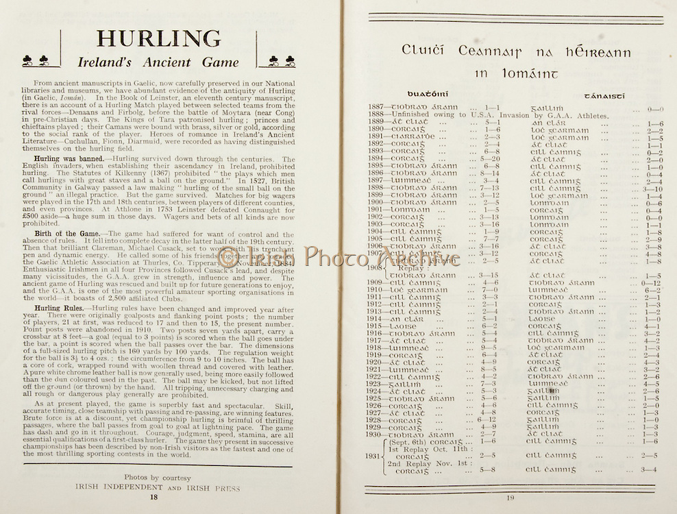 All Ireland Senior Hurling Championship Final,.Programme, .06.09.1953, 09.06.1953, 6th September 1953,.Cork 3-3, Galway 0-8, .Minor Dublin v Tipperary, .Senior Cork v Galway, .Croke Park, 0691953AISHCF,..Articles, Hurling Ireland's Ancient Game, Cluici Ceannair Na hEireann in Lomaint,