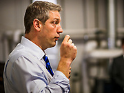 """07 APRIL 2019 - DES MOINES, IOWA:  Rep. TIM RYAN (D-OH) talks to Iowa Democrats during his first campaign event in Des Moines Sunday evening. Ryan declared his candidacy on the US television show """"The View"""" on April 4. Ryan, 45 years old, represents Ohio's 13th District, which includes Lordstown, where a large General Motors plant recently closed. He is the latest Democrat to announce his candidacy to be the Democratic nominee in the 2020 election. Iowa holds its presidential caucuses on Feb. 3, 2020.   PHOTO BY JACK KURTZ"""