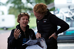 Trek-Segafredo DS, Ina-Yoko Teutenberg and Trek-Segafredo soigneur, Geerike Schreurs discuss the plan for the day at Boels Ladies Tour 2019 - Stage 2, a 113.7 km road race starting and finishing in Gennep, Netherlands on September 5, 2019. Photo by Sean Robinson/velofocus.com