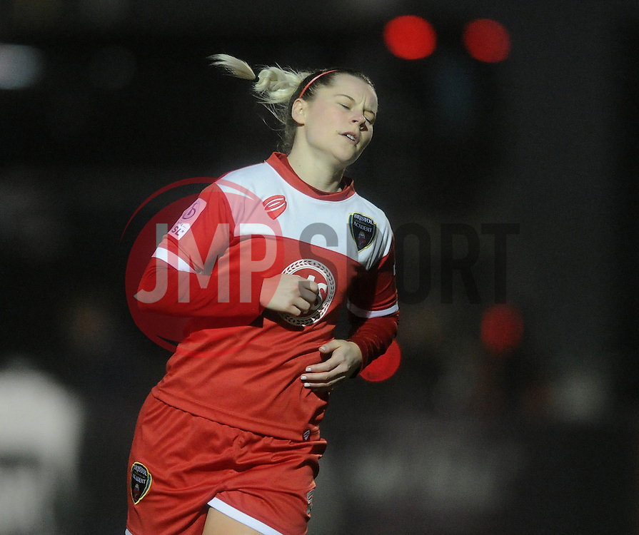 Bristol Academy Womens' Nikki Watts cuts a dejected figure - Photo mandatory by-line: Dougie Allward/JMP - Mobile: 07966 386802 - 02/04/2015 - SPORT - Football - Bristol - SGS Wise Campus - BAWFC v Chelsea Ladies - Womens Super League