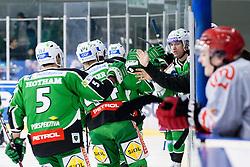 Team HDD Tilia Olimpija celebrate goal during ice-hockey match between HDD Tilia Olimpija and HK Acroni Jesenice in 23rd Round of EBEL league, on November 20, 2011 at Hala Tivoli, Ljubljana, Slovenia. (Photo By Matic Klansek Velej / Sportida)