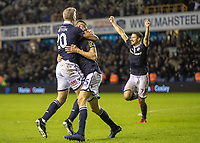 Football - 2018 / 2019 Emirates FA Cup - Fourth Round: Millwall vs. Everton<br /> <br /> Steve Morison (Millwall FC) celebrates with Murray Wallace (Millwall FC) after he scored the winning goal at The Den.<br /> <br /> COLORSPORT/DANIEL BEARHAM