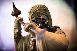 "© Licensed to London News Pictures . 06/12/2015 . Manchester , UK . Look out - Sand people . Fans attend Star Wars exhibition "" For the Love of the Force "" at Bowlers Exhibition Centre in Manchester . Photo credit : Joel Goodman/LNP"