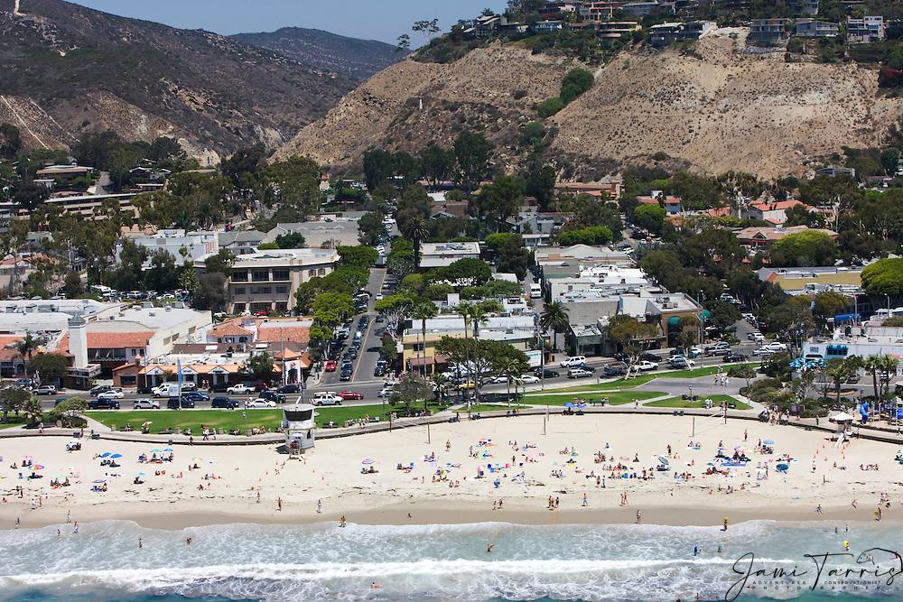 An aerial of the Main Beach of downtown Laguna Beach,Pacific Ocean,Laguna Beach, California,USA