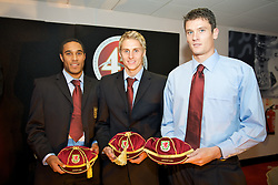 CARDIFF, WALES - Tuesday, October 7, 2008: Wales' players recieve their caps at the Brains Beer Wales Football Awards at the Millennium Stadium. L-R: Ashley Williams, David Edwards, Owain Tudur Jones. (Photo by David Rawcliffe/Propaganda)