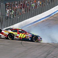 05 June 2005:  Driver Greg Biffle does doughnuts after winning the Nextel Cup Series MBNA 400 race on June 5, 2005 at Dover International Speedway in Dover, DE.  Biffle inadvertently hit the wall while celebrating his victory.