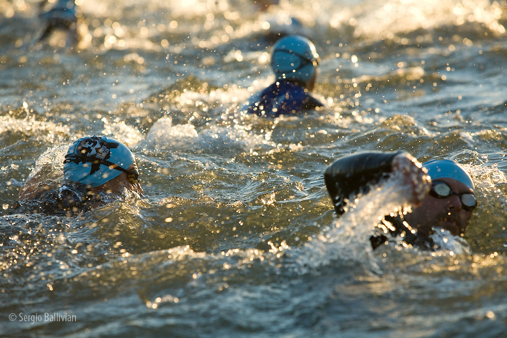 Swimmers compete in the 5430 Triathalon in Boulder, CO