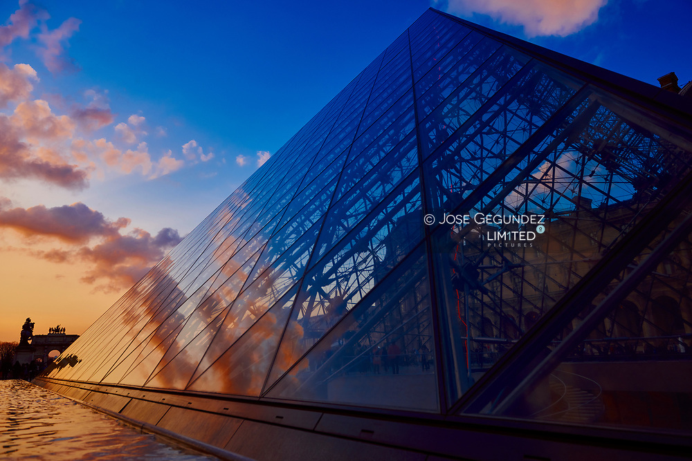 The pyramid of the Louvre at sunset