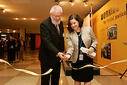 Juan Somavia (left), Director-General of the International Labour Organization (ILO), and Maria Luiza Ribeiro Viotti, Permanent Representative of Brazil to the United Nations, open a photo exhibition marking ILO's 90th anniversary. The exhibit is co-sponsored by ILO and the Permanent Mission of Brazil to the UN.