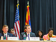 21 MAY 2012 - PHOENIX, AZ:    US Representatives PAUL GOSAR (R AZ 1) left, BEN QUAYLE (R AZ 3) and SHEILA JACKSON LEE (D TX 18) at the US House of Representatives Committee on Homeland Security, Subcommittee on Border and Maritime Security meeting Monday in Phoenix to talk about ways to improve information-sharing among government law enforcement agencies to thwart the flow of illicit drugs from Mexico into Arizona. Republican Congressman Paul Gosar and Ben Quayle, both from Arizona, and Democratic Congresswoman Sheila Jackson Lee, from Texas, attended the meeting.         Photo     PHOTO BY JACK KURTZ