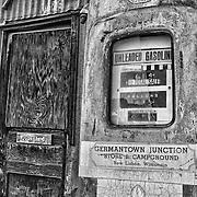 Vintage Gasoline Pump - Eldorado Canyon - Nelson NV - HDR -  Black & White