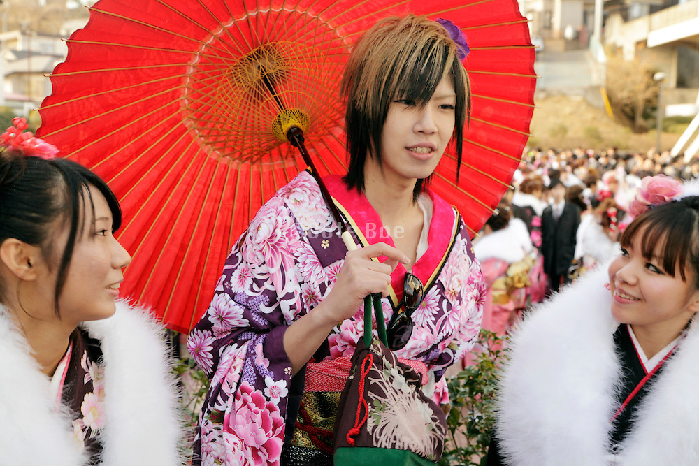 boy dressed in kimono during the Coming of Age festival, Seijin no hi, Japan