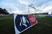 The Emirates FA Cup sign pitchside at Huish Park Stadium before the The FA Cup 4th round match between Yeovil Town and Manchester United at Huish Park, Yeovil, England on 26 January 2018. Photo by Graham Hunt.