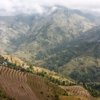 A valley with ricefields, seen between Chisapani und Pati Bhanjyang on the Helambu Trek.